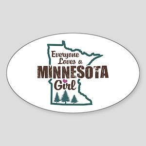 Minnesota Girl Oval Sticker