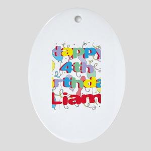 Liam's 4th Birthday Oval Ornament