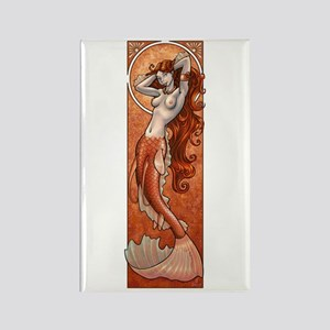 Copper Mermaid Nouveau Rectangle Magnet
