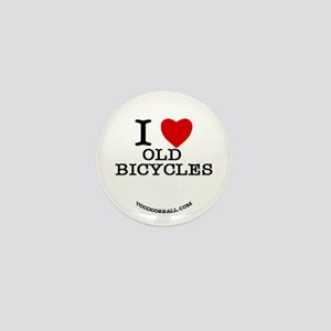 I Love old bicycles Mini Button