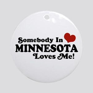 Somebody in Minnesota Loves Me Ornament (Round)