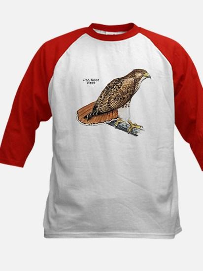 Red-Tailed Hawk Bird (Front) Kids Baseball Jersey