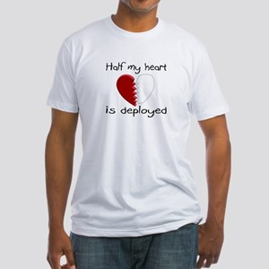 Half My Heart Is Deployed Fitted T-Shirt