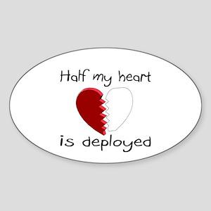 Half My Heart Is Deployed Oval Sticker