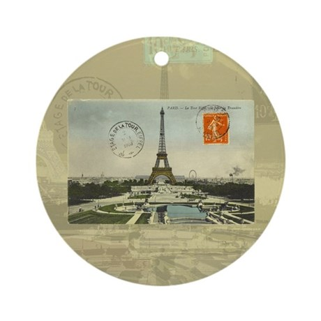 Vintage Paris Eiffel Tower Ornament (Round)