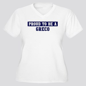 Proud to be Greco Women's Plus Size V-Neck T-Shirt