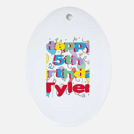 Tyler's 5th Birthday Oval Ornament