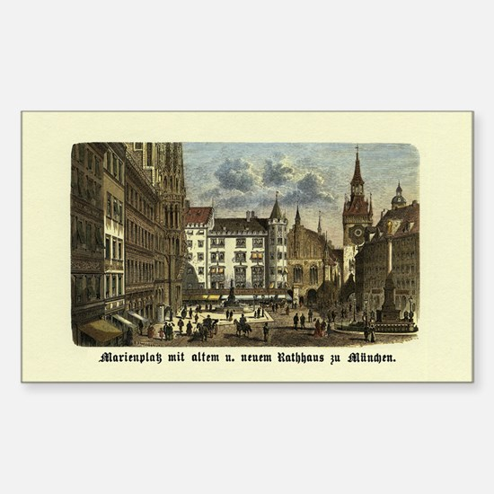 Munich Old Engraving Rectangle Decal