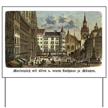 Munich Old Engraving Yard Sign