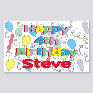 Steve's 4th Birthday Rectangle Sticker