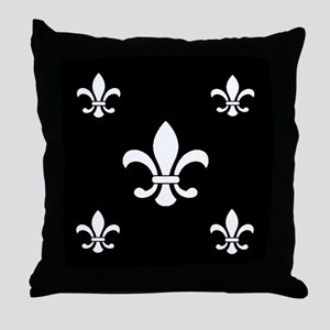 White on Black Fleur de Lis Throw Pillow