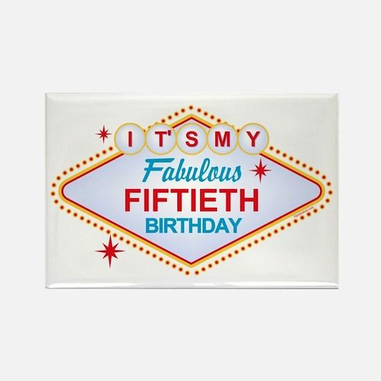 Las Vegas Birthday 50 Rectangle Magnet
