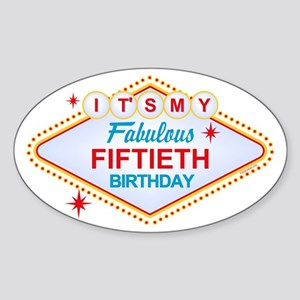 Las Vegas Birthday 50 Oval Sticker