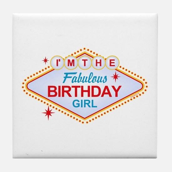Las Vegas Birthday Girl Tile Coaster