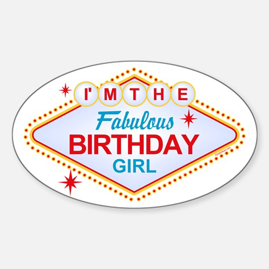 Las Vegas Birthday Girl Oval Decal