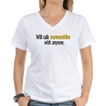 Talking Snowmobiles Women's V-Neck T-Shirt