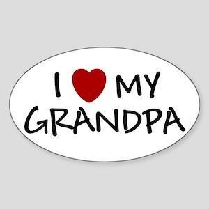 I LOVE MY GRANDPA SHIRT BABY Oval Sticker