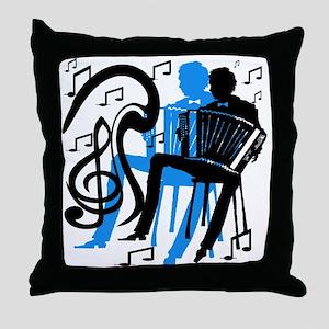 Accordion Player Throw Pillow