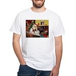 Santa & His Brittany White T-Shirt