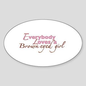 Brown Eyed Girl Oval Sticker