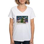 XmasMagic/BullMastiff #7 Women's V-Neck T-Shirt