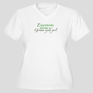 Green Eyed Girl Women's Plus Size V-Neck T-Shirt
