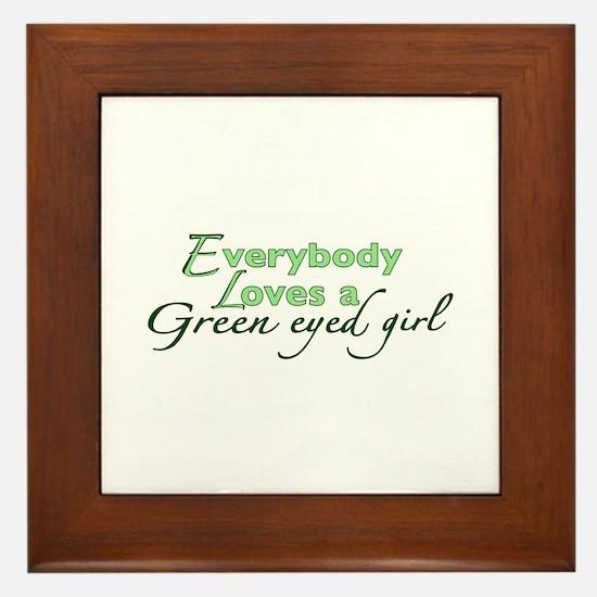 Green Eyed Girl Framed Tile