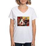 Santa's Cairn Terrier Women's V-Neck T-Shirt