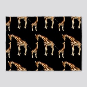 Mother Giraffe and Baby 5'x7'Area Rug