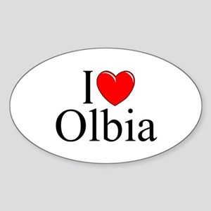 """I Love (Heart) Olbia"" Oval Sticker"