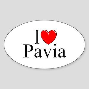 """I Love (Heart) Pavia"" Oval Sticker"
