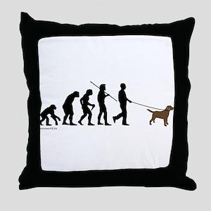 Chocolate Lab Evolution Throw Pillow