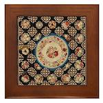Floral Needlepoint Framed Tile