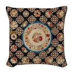 Floral Needlepoint Woven Throw Pillow