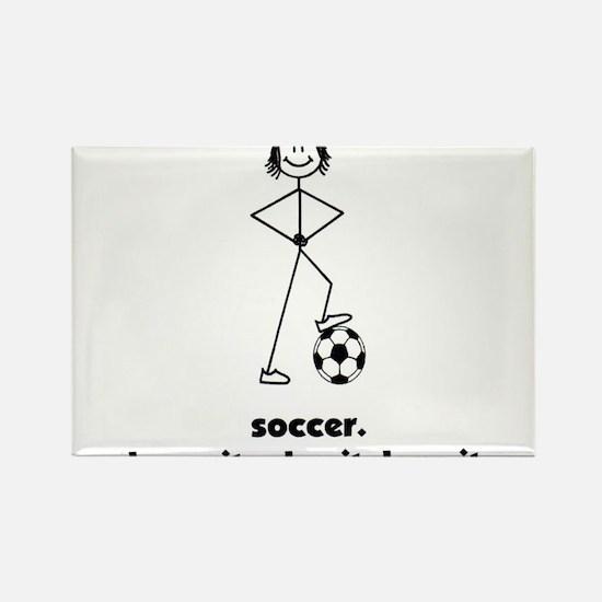 Stick Girl Soccer Rectangle Magnet