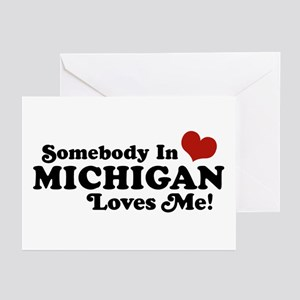 State of michigan greeting cards cafepress somebody in michigan loves me greeting cards pk o m4hsunfo
