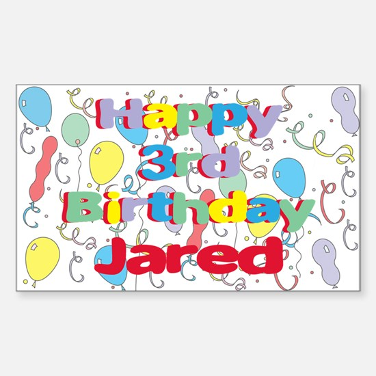 Jared's 3rd Birthday Rectangle Decal