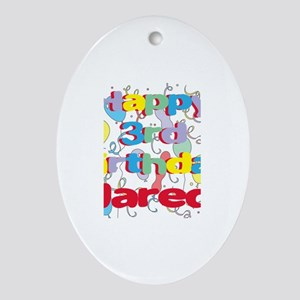 Jared's 3rd Birthday Oval Ornament