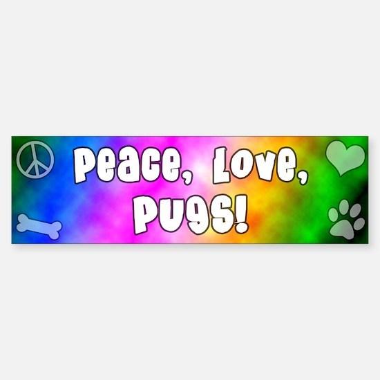 Hippie Pug Bumper Bumper Bumper Sticker