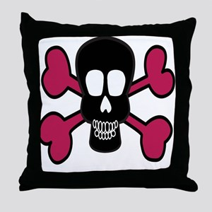 Pink Skull and Crossbones Throw Pillow