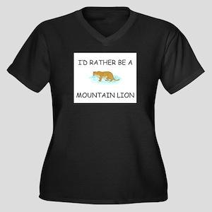 I'd Rather Be A Mountain Lion Women's Plus Size V-