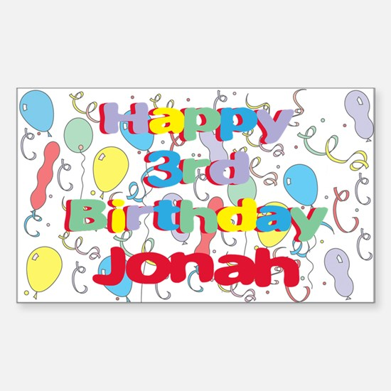 Jonah's 3rd Birthday Rectangle Decal