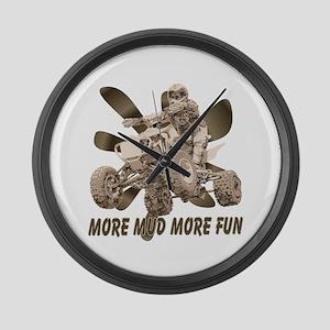 More Mud More Fun on an ATV Large Wall Clock