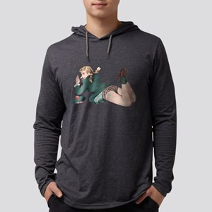 Blonde Scottish Pin Up Girl Mens Hooded Shirt