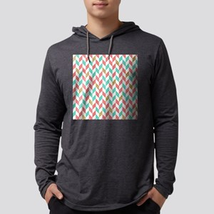 Mint Coral Gold Chevron Zig Zag Scatter Mens Hoode