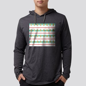 Mint Coral gold Triangle Stripes Mens Hooded Shirt