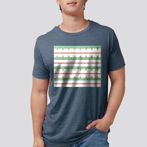 Mint Coral gold Triangle Stripes Mens Tri-blend T-