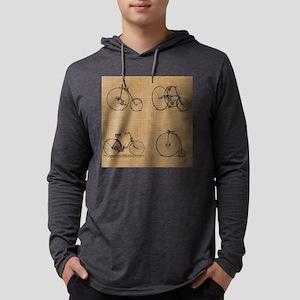 Burlap Vintage Bicycles Illustration Mens Hooded S