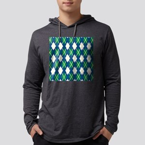 Yellow Blue Green Large Argyle Pattern Mens Hooded