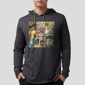 Vintage Book Cover Illustrations Mens Hooded Shirt